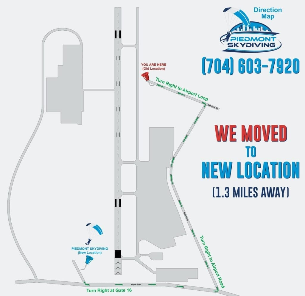 Directions to the new Piedmont Skydiving Dropzone Location at 500 Airport Rd, Salisbury, NC 28147.